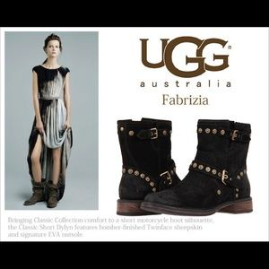 UGG Fabrizia Suede Studded Moto Boots - N1059